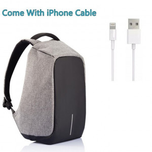 High Quality Anti-Theft Backpack New Design With iPhone Cable- Grey