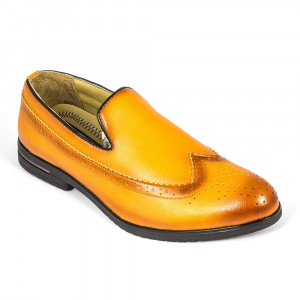 Tan Leather Semi-Formal Brogue Loafer Shoe for Men - (2927)