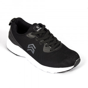 Light Weight Knitted Black Sports Shoe - (6109)