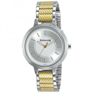 Sonata Elite Champagne and Silver Dial Analog Watch for Women - 8141BM01