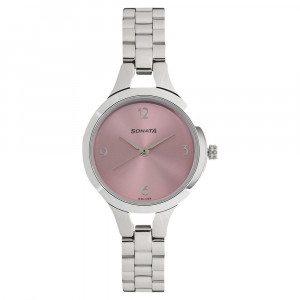 Sonata Steel Daisies Pink Dial Analog for Women - 8151SM03