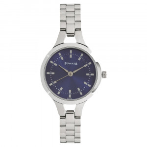 Sonata Steel Daisies Blue Dial Analog for Women - 8151SM04