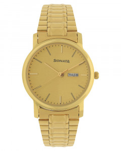 Sonata Champagne Dial Analog Watch for Men NF1013YM08