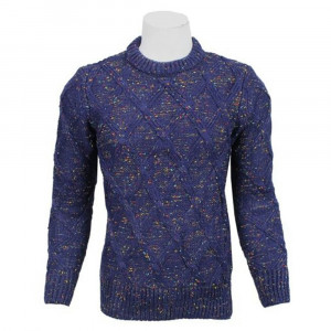 Hardik's Woolen Blue Textured Sweater for Men