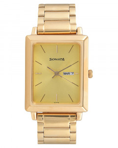 Sonata Analog Gold Dial Men's Watch - NF7078YM04