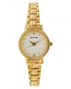 Sonata Analog White Dial Women's Watch - 8096YM01