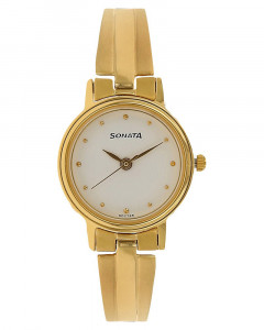 Sonata Analog White Dial Women's Watch - 8096YM04