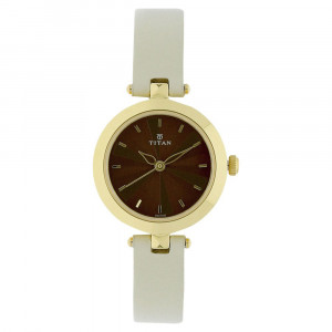 Titan Leather Strap Watch for Women - 2574YL01