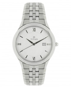 Titan White Dial Analouge Watch For Men - 1494Sm01