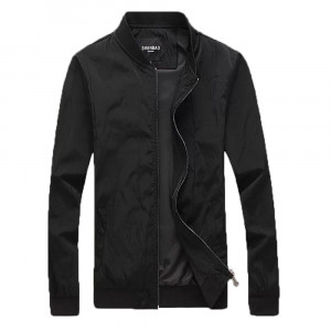 Hardik's Solid Black Slim Fit Wind Cheater Casual Bomber Jacket for Men