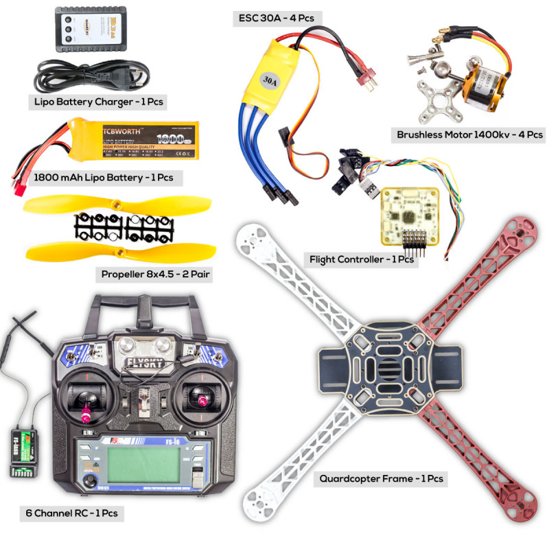 Buy complete quardcopter kit for building drone frame brushless complete quardcopter kit for building drone frame brushless motor esc flight controller remote lipo propeller and charger solutioingenieria Image collections