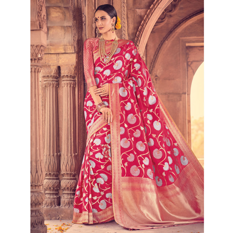 4c2157d6cfe62d Buy Style Lifestyle Designer Banarasi Red Saree with Elegant Floral Design  With Jari & Woven Border with Red Blouse for Wedding, Party and Festival  online ...