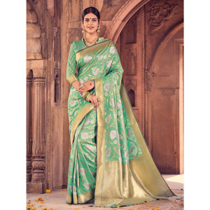 Style Lifestyle Designer Banarasi Green Saree with Elegant Floral Design With Jari & Woven Border with Green Blouse for Wedding, Party and Festival