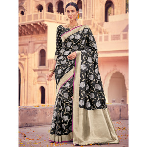 Style Lifestyle Designer Banarasi Black Saree with Elegant Floral Design With Jari & Woven Border with Black Blouse for Wedding, Party and Festival