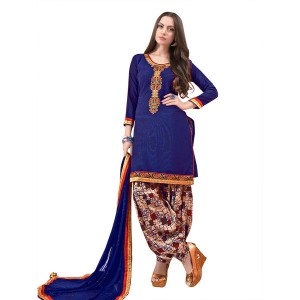 Style Lifestyle Elegant Contrast Floral Resham Thread Work With Jari & Ready Lace Blue Kurtha with Blue Chiffon Dupatta