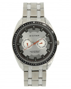 Titan Silver Dial Stainless Steel Strap Watch