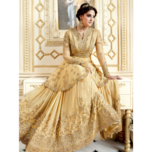 Stylee Lifestyle Embellished Floral Jardoshi Work With Resham Thread Work & Crystal Yellow Semi Stitched Salwar Suit for Party and Wedding