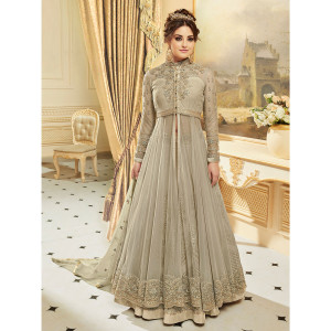 Stylee Lifestyle Elegant Floral Jardoshi Work With Multiple Jari & Crystal Grey Semi Stitched Salwar Suit for Party and Wedding