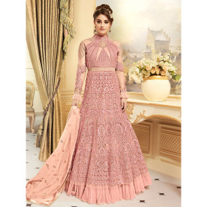 Stylee Lifestyle Elegant Traditional Jardoshi Work With Resham Thread Work & Crystal Pink Semi Stitched Salwar Suit for Party and Wedding