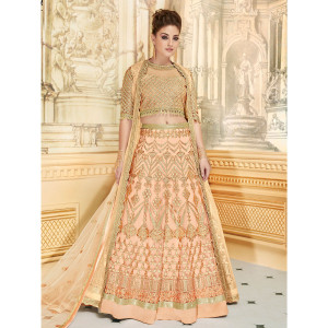 Stylee Lifestyle Designer Jardoshi Work With Resham Thread Work & Lehenga Choli Pattern Peach Semi Stitched Salwar Suit for Party and Wedding