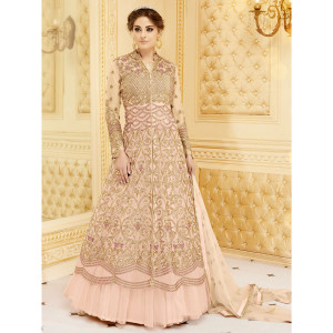 Stylee Lifestyle Embellished Jardoshi Work With Multiple Jari & Crystal Pink Semi Stitched Salwar Suit for Party and Wedding