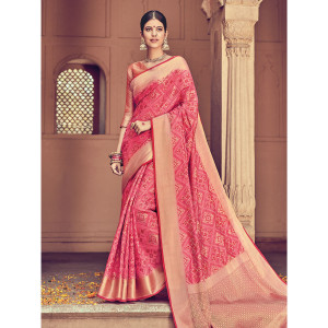 Stylee Lifestyle Full Geometric Jacquard Woven Design With Jacquard Blouse Pink Saree with Gold Blouse for Wedding, Party and Festival