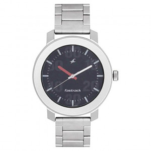 Fastrack  Black Dial Analog Watch For -Men -Silver-3121SM02