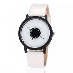 White Dial Leather Turntable Casual Watch (Unisex)