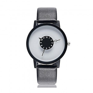 Turntable White Dial Leather Belt Casual Unisex Watch