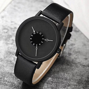 Turntable Matte Black Leather Casual Unisex Watch