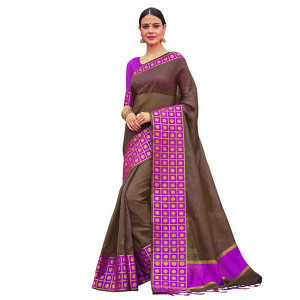 Stylee Lifestyle Brown Banarasi Silk Jacquard Saree (1806)