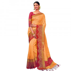 Stylee Lifestyle Yellow Banarasi Silk Jacquard Saree (1807)