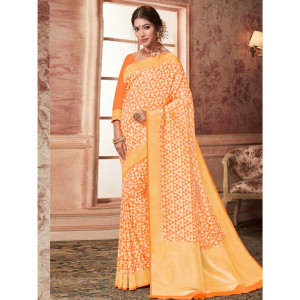 Stylee Lifestyle Orange Banarasi Silk Jacquard Saree (1781)