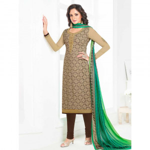 Stylee Lifestyle Beige Crepe Embroidered Dress Material (1791)