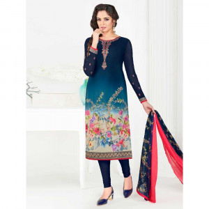 Stylee Lifestyle Blue Crepe Embroidered Dress Material (1795)
