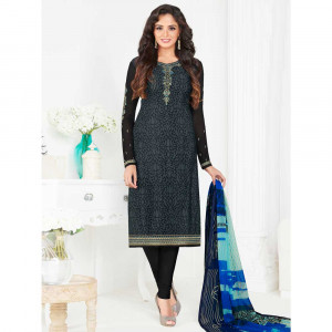 Stylee Lifestyle Grey Crepe Embroidered Dress Material (1792)