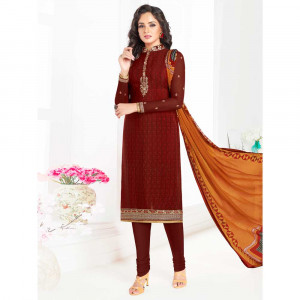 Stylee Lifestyle Maroon Crepe Embroidered Dress Material (1794)