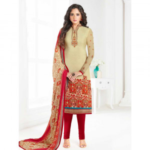 Stylee Lifestyle Beige Crepe Embroidered Dress Material (1789)