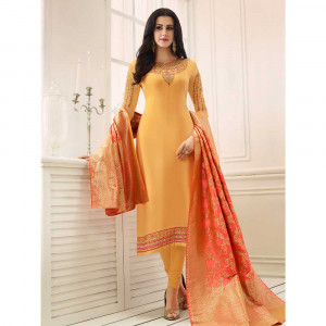 Stylee Lifestyle Yellow Satin Embroidered Dress Material (1761)