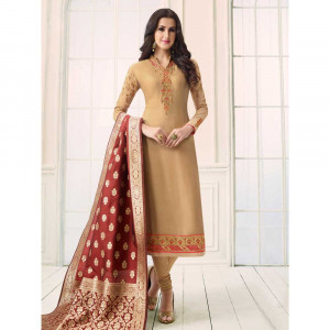 Stylee Lifestyle Beige Satin Embroidered Dress Material (1764)
