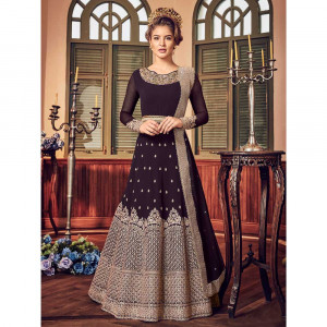 Stylee Lifestyle Wine Georgette Embroidered Dress Material (1808)