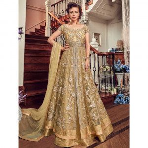 Stylee Lifestyle Gold Net Embroidered Dress Material (1809)