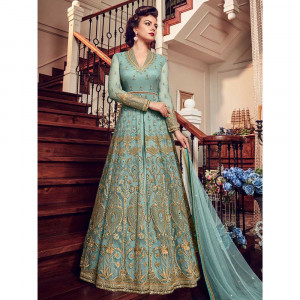 Stylee Lifestyle Turquoise Net Embroidered Dress Material (1811)