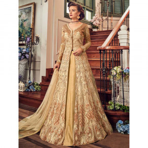 Stylee Lifestyle Beige Net Embroidered Dress Material (1813)
