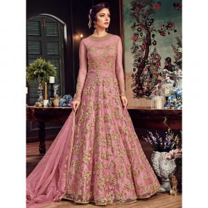 Stylee Lifestyle Pink Net Embroidered Dress Material (1814)