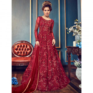 Stylee Lifestyle Maroon Net Embroidered Dress Material (1815)