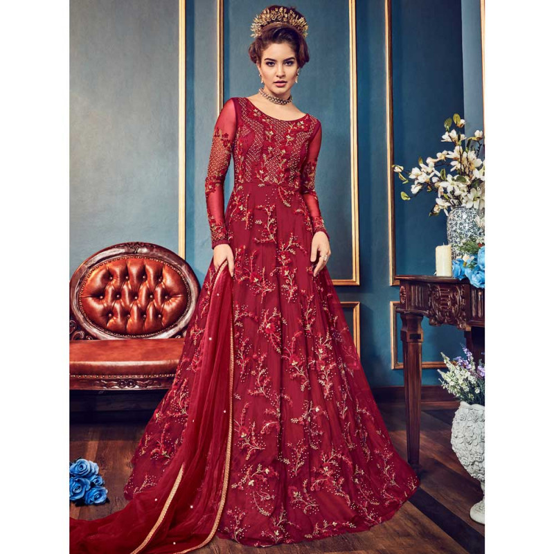 4e29a75388 Buy Stylee Lifestyle Maroon Net Embroidered Dress Material (1815) online at  best price in Nepal - Reddoko . com