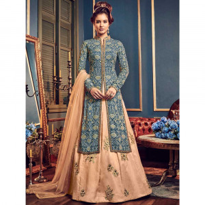 Stylee Lifestyle Blue Georgette Embroidered Dress Material (1816)
