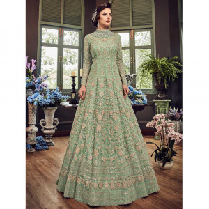 Stylee Lifestyle Green Net Embroidered Dress Material (1817)