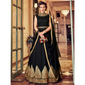 Stylee Lifestyle Black Raw Silk Embroidered Dress Material (1818)